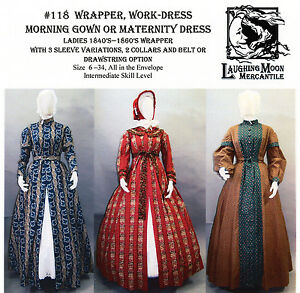 b37ab5212937f 1840-60s Wrapper, Morning Gown, Maternity & Work Dress Laughing Moon ...