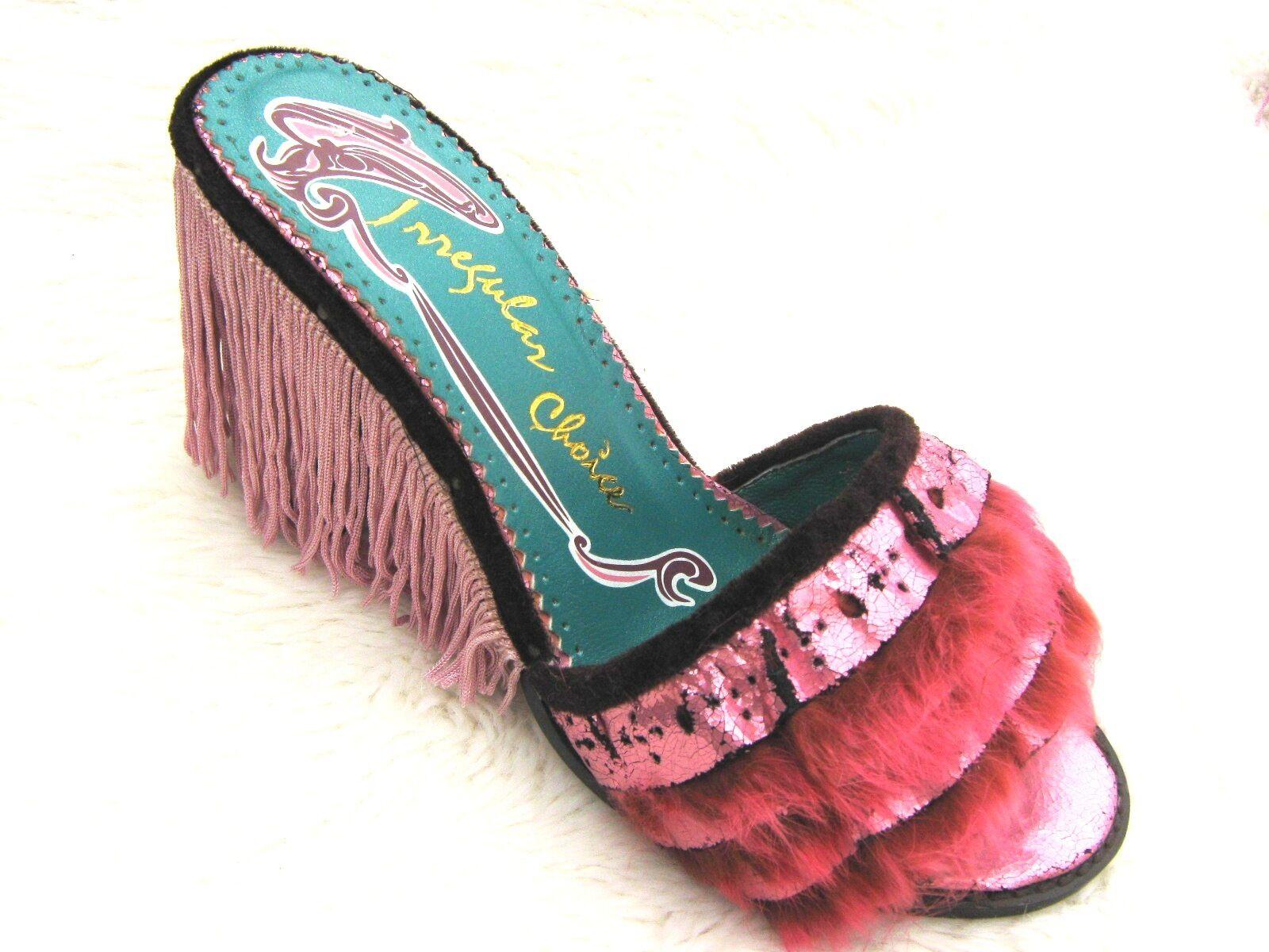 Irregular Choice Metallic Pink Fun Fur Fringed Tassel Tassel Tassel High Heeled Mules shoes 38 3a6532