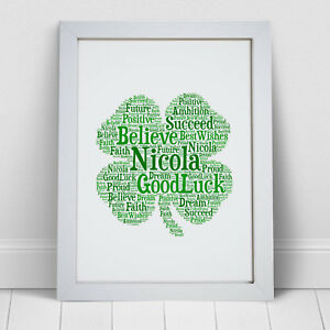 Image Is Loading Personalised Word Art Four Leaf Clover Shamrock Good