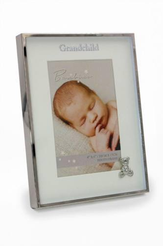 Silver Plated Grandchild Photo Frame Gift With Teddy Icon CG1397