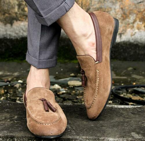 Mens Loafers Chic Tassel Suede Slip On Pointed Toe British Style Moccasins Shoes