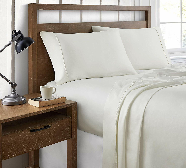 100/% Cotton Sateen 400 Thread Count Top/_Linens 4-Piece Bed Sheet Set