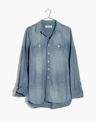 Madewell Chambray Classic Ex-Boyfriend Shirt in Ma