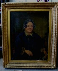 Antique-Victorian-Lady-Woman-Huge-Old-frame-genuine-oil-painting-portrait