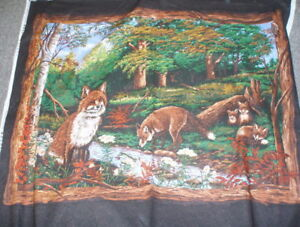 Fabric Cushion Panel Foxes fox