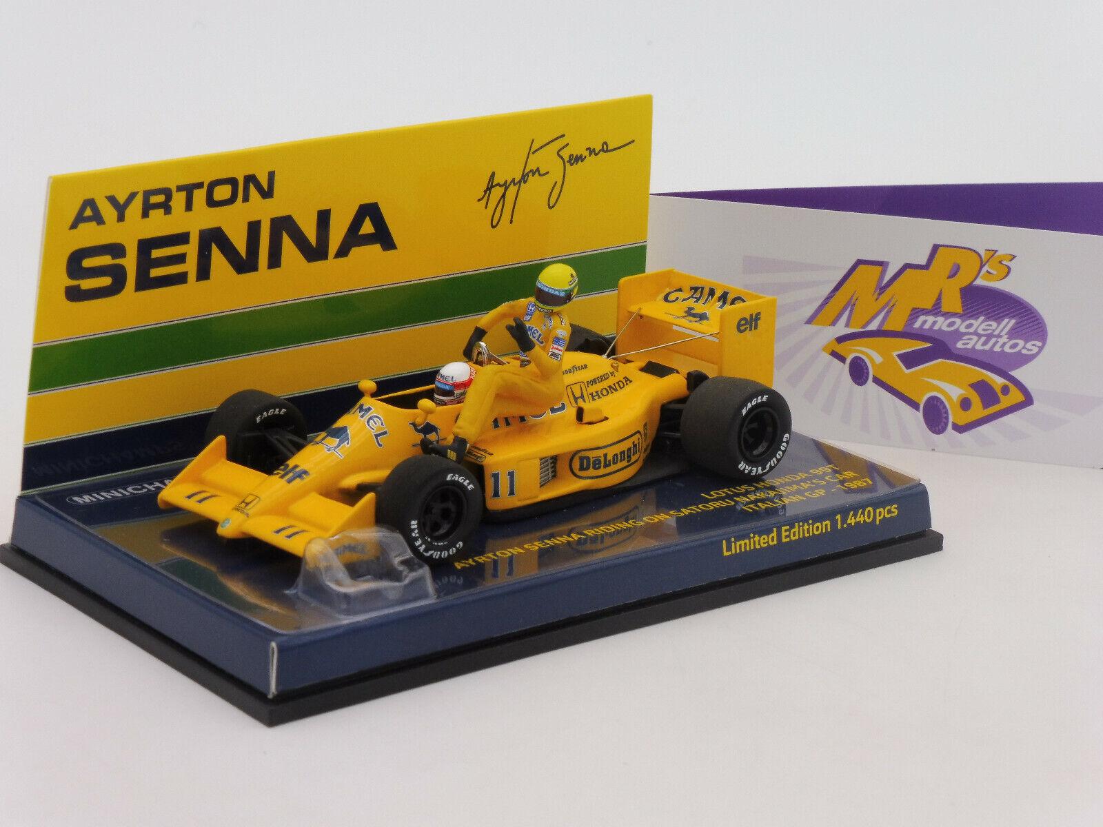 Minichamps 540874311    Lotus Honda 99T A. Senna riding on S. Nakajima  1 43  économiser jusqu'à 80%