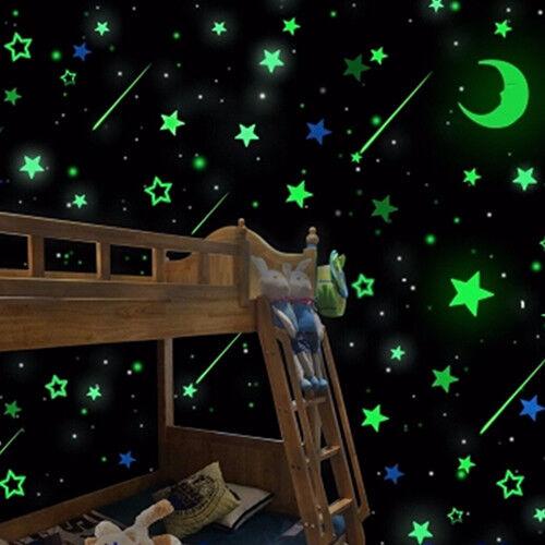 UK/_ 20Pcs Luminous Glow in the Dark Stars Moon Decals Home Decor Wall Stickers F