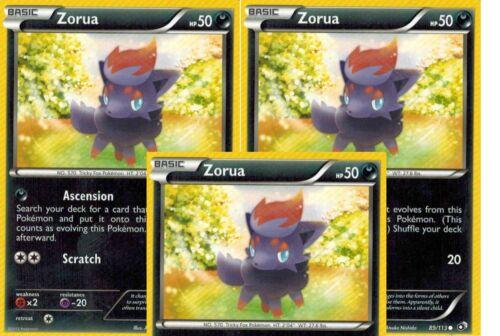 89//113 X 3  Common MINT  Legendary Treasures Pokemon Battle Zorua