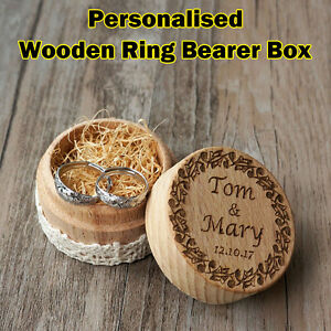Personalised engraving wedding ring box rustic wooden box custom image is loading personalised engraving wedding ring box rustic wooden box junglespirit Images