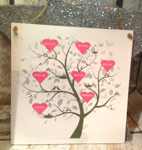 20 X 20  Unique Family Sign 015 Personalised PINK HEART Family Tree plaque