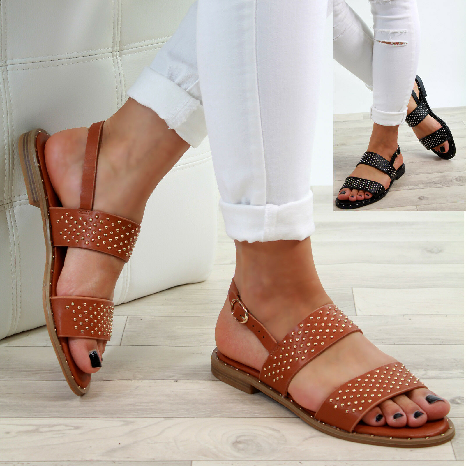 New Womens Ankle Flat Sandals Studs Buckle Ankle Womens Strap Comfy Summer Shoes Sizes 3-8 d15b31
