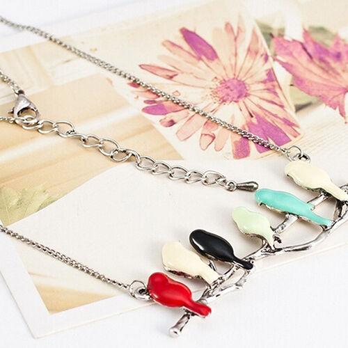 EG /_ Tier Anhänger Vögel auf Branch Damen Lang Schmuck Halskette neues Design