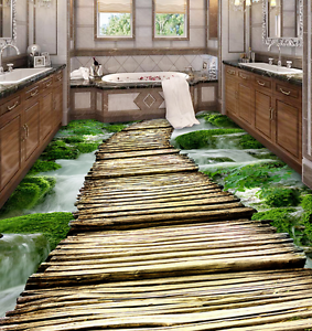 3D Wood Bridge River 76 Floor Wall Paper Murals Wall Print AJ WALLPAPER UK Lemon