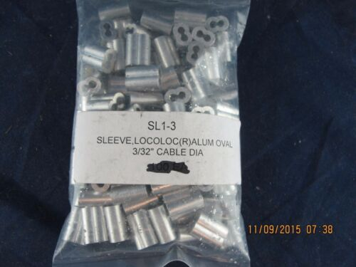 """100 ALUMINUM 3//32/"""" Military SL1-3  Wire Rope Cable Sling Clip Compression Sleeve"""