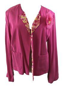 Bob Mackie Studio blazer jacket Size 10 long sleeve pink flower silk womens