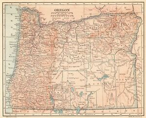 Details about 1914 Vintage OREGON MAP Antique Map of Oregon State Map  Gallery Wall Art 6314