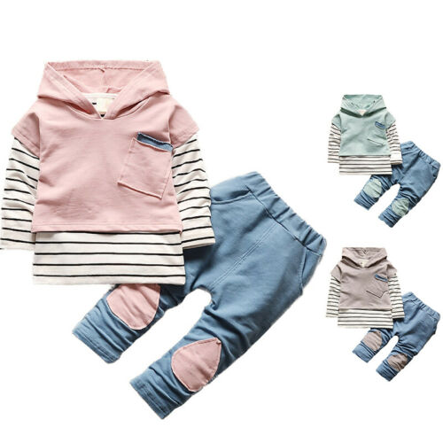 3 Teile Kinder Babykleidung Jungen Mädchen Kapuzenweste T-Shirt Top+