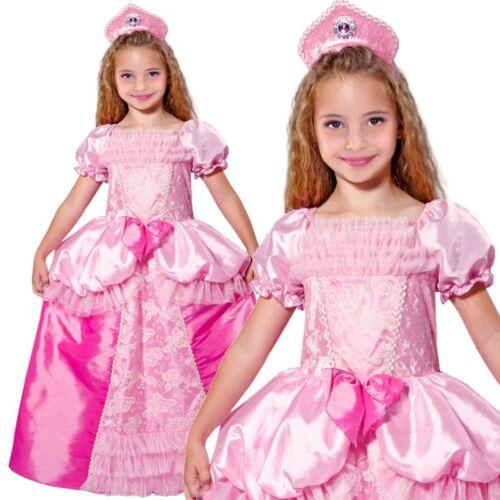 Märchen Prinzessin Mädchen Kinder Kostüm Kleid mit Kopfschmuck rosa-pink
