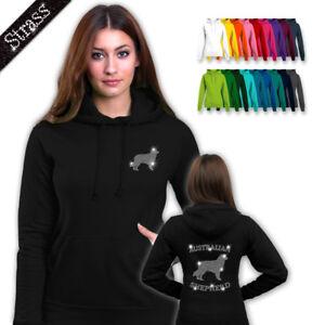 Details about Ladies Hoodie Hooded Sweater Rhinestone Strassdruck Dog Australian Shepherd M1