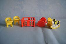 Fisher Price #761 Little People Nursery baby crib playpen high chair rock horse