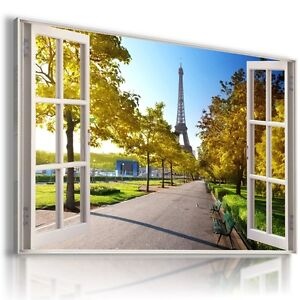 FRANCE-PARIS-3D-Window-View-Canvas-Wall-Art-Picture-Large-30X20-034-W180-MATAGA