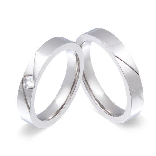 gratis grabado láser-la55hd 2 anillos de amistad de acero inoxidable circonita incl