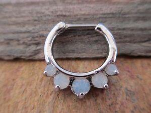 Silver Crystal Gems Septum Nose Ring Clicker Hanger14G 1.6mm 1.2mm 16G