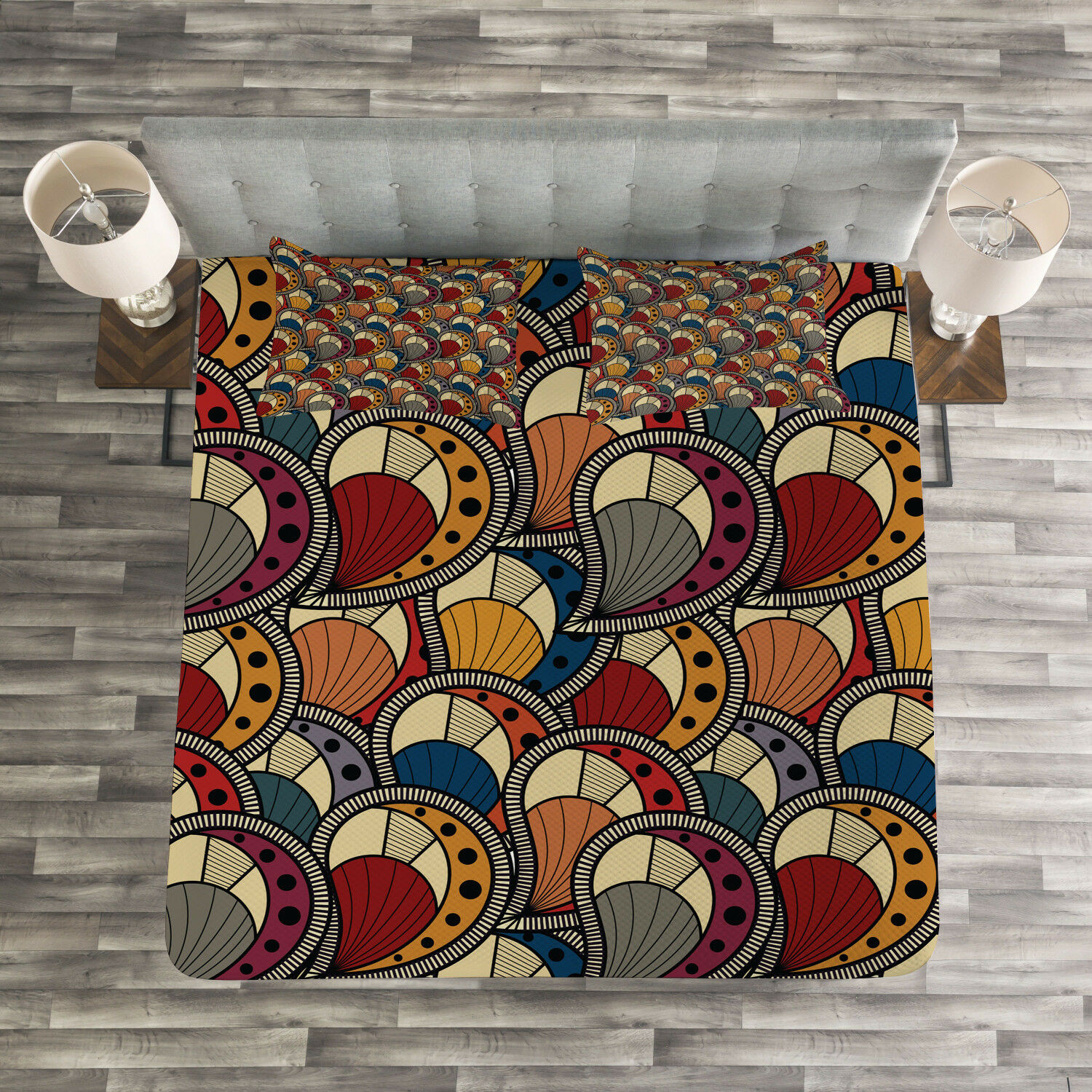 African Quilted Bedspread & Pillow Shams Set, Abstract Paisley Motifs Print
