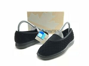 8a96f38ca5c0 NEW Foamtreads Waltz Women s Black Velour Comfort Slipper US 5.5 W ...