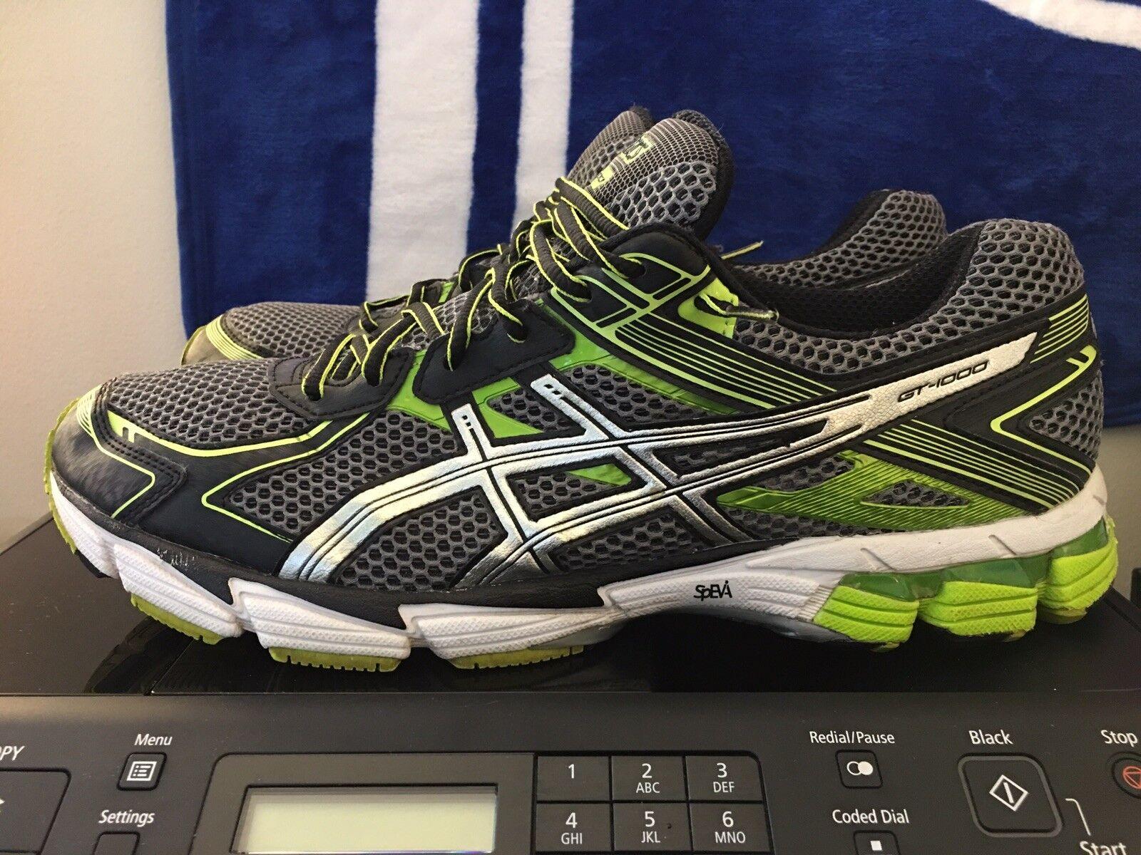 Asics Gel GT-1000, T3R0N, Silver   Black   Green, Men's Running shoes, Size 14