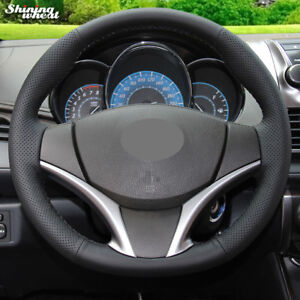 Black-Leather-Car-Steering-Wheel-Cover-for-Toyota-Yaris-Vios-2014-2016