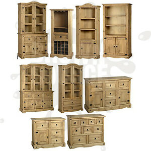 Corona pine sideboard cupboard display cabinet glass front for Sideboard glasfront