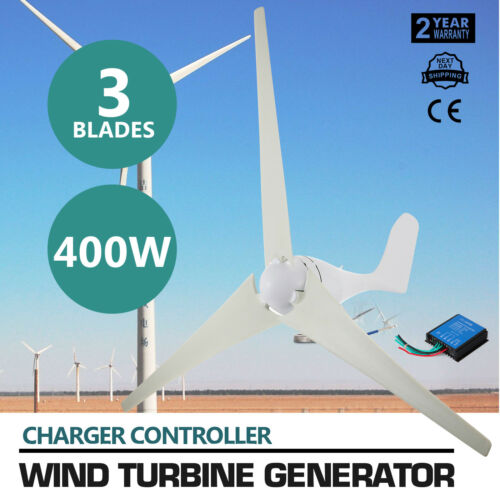 400W Wind Turbine Generator 20A Charger 3 Blads 800rmin Environmental