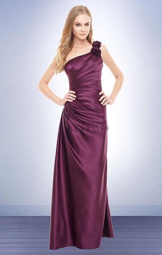 Bill Levkoff Bridesmaid Dress 179 Prom Wedding Long Gown One Shoulder SATIN NEW