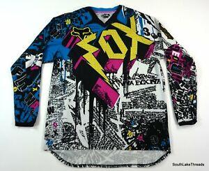 VTG 2000's Fox Racing All Over Print Long Sleeve Shirt XL White Yellow Pink Blue