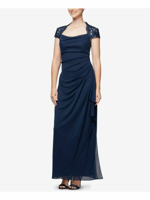 Xscape Womens Navy Lace Overlay Formal Evening Dress Gown Plus 14W BHFO 2013