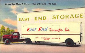 Houston TX East End Transfer & Storage Co. Moving Van Linen Postcard