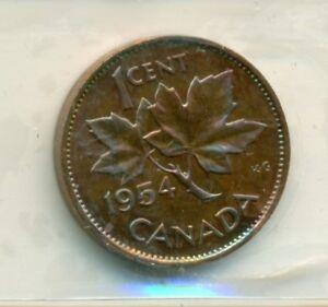 Canada  one  1954 sf  1  cent  Copper  Penny  Coin  # 1