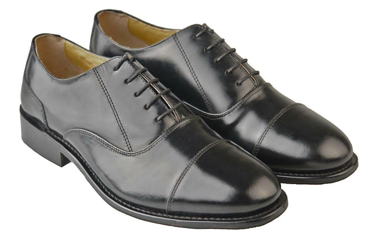 Mens Full Leather shoes   Leather Soles Oxford Capped  6 - 14