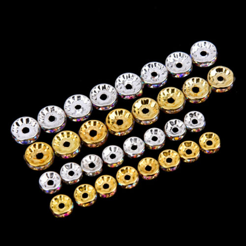 50pcs Clear AB Crystal Rhinestone Rondelle Spacer Beads DIY 6mm 8mm JeweleryMA
