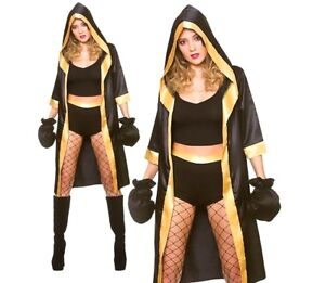 Ladies-KNOCKOUT-BOXER-Gloves-Boxing-Sexy-Fancy-Dress-Costume-Champion-Robe