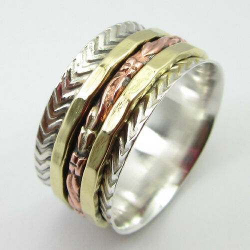"""Copper /& Brass SPINNER Ring Band ANCIENT STYLE GIFT /""""3 Tone/"""" 925 SOLID Silver"""