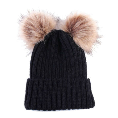 Newborn Toddler Baby Girls Boys Hats Warm Winter Knitted Wool Hemming Hat Cap KN