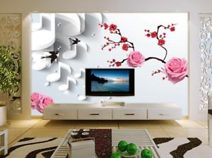 3D Swallows Flowers 73 Wall Paper Murals Wall Print Wall Wallpaper Mural AU Kyra