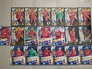 Match-Attax-101-2020-set-of-19-Liverpool-cards-inc-foils-amp-100-Club-W2-W6-W7