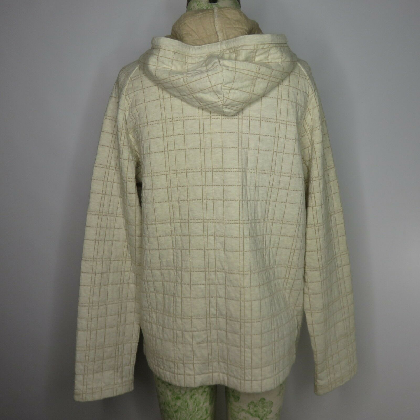 New DKNY DKNY DKNY Pure Oatmeal Small Full Zip Hoodie Sweatshirt Quilted  148 bc7ee7
