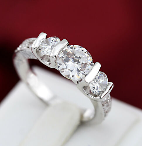 18K WHITE GOLD GF 1.5CT TRILOGY LAB DIAMOND WOMEN ANNIVERSARY WEDDING DRESS RING