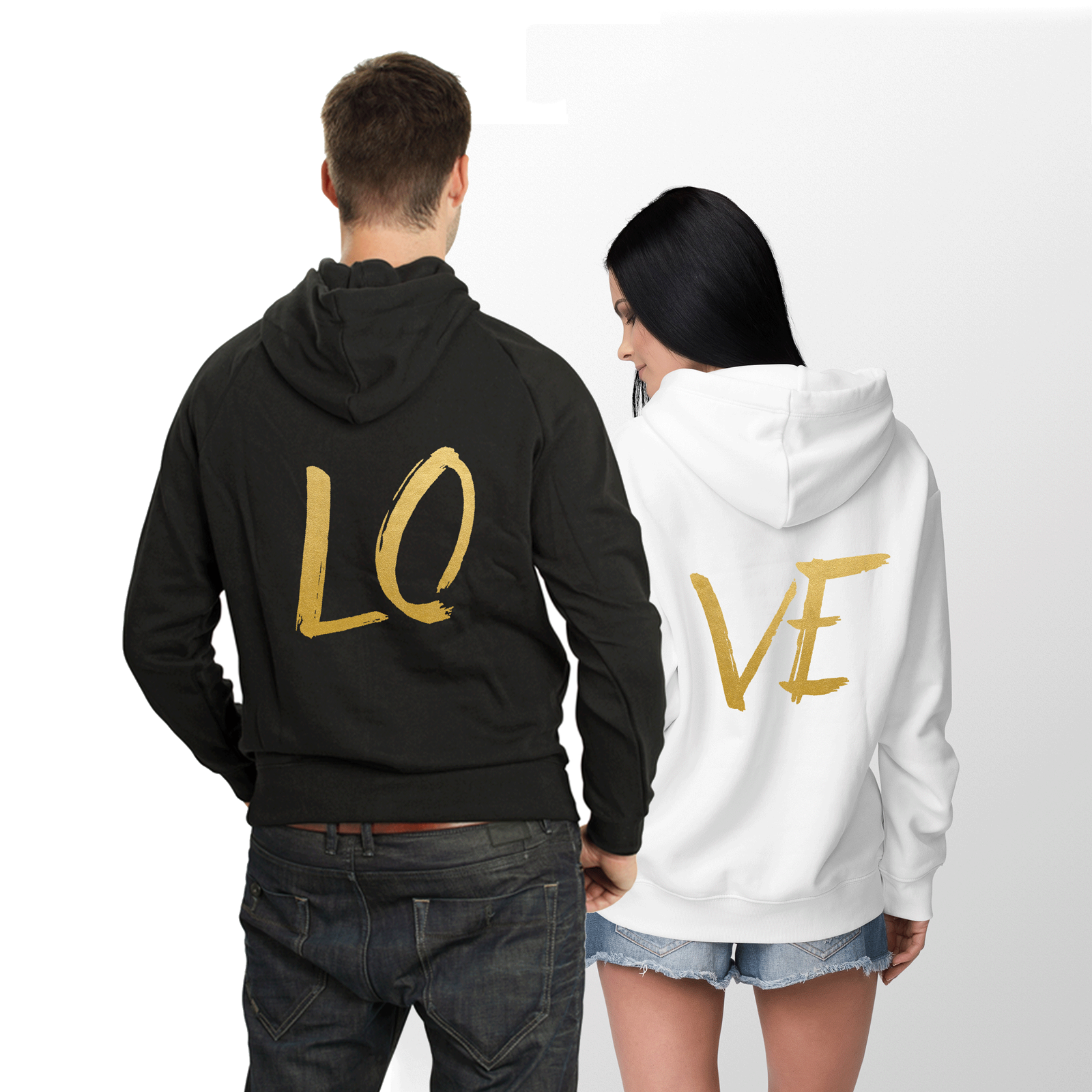 711592b2bc4b Black hoodies with white print Black and white hoodie with golden print