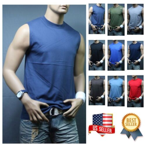 Men Muscle Sleeveless T-Shirt Tank Top Workout Casual Tee Gym Hiking Beach Comfy