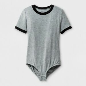 a2b18e89764b Art Class Girls  Short-Sleeve Ringer Heather Grey T-Shirt Bodysuit ...